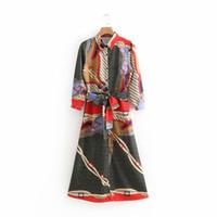 Günlük Elbiseler 2021 Kadınlar Vintage Baskı Gömlek Gevşek Üç Çeyrek Kollu Yay bağlı Sashes Uzun Elbise Vestidos Parti Chic DS1165
