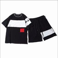 Moda para hombre del chándal con las letras de bordado verano de las mujeres de deporte de manga corta suéter del basculador de los juegos de pantalones O-Cuello Sportsuit