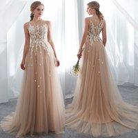 Modern Country style champenois robes de mariée en dentelle sans manches Illusion Appliqued Western Bobo Robes de mariée