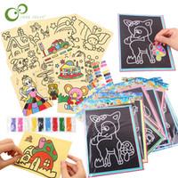 20Pcs / set 10Pcs / set Magia Scratch Art Doodle Pad Sand disegnare la pittura giocattolo di formazione carte antiche educativo d'apprendimento creativo per i bambini