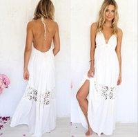 Backless Kleid-Sommer-Designer tiefen V-Ausschnitt aushöhlen Weiß Panelled Kleider Weibliche beiläufige Kleidung der Frauen Spitzehalter