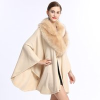 Europe Style 2019 autumn winter Faux Fox Fur Large Fur Colla...