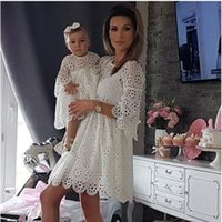 Lace mother-daughter dress Mother and Daughter Matching Clothing Women Kids  Girl Lace Crochet Tutu Dress Outfit LJJW134 92b07409e