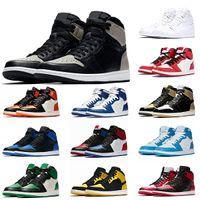 Nike Air Jordan Retro 1 1s Jumpman الظل المرأة رجل 1 1S أحذية كرة السلة الظل الزيتون قماش شيكاغو أعلى 3 UNC ولدت تو لعبة الأزرق الملكي رجل مدرب حذاء رياضة