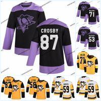 Sidney Crosby Pittsburgh Penguins Kanser Pratik forması Jake Guentzel Brandon Tanev Evgeni Malkin Marcus Pettersson Tristan Jarry Mücadele Ediyor
