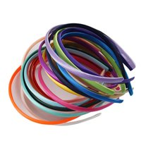 10mm Breite Haar-Zusätze 20pcs / Set Solide Satin Haarband Premium-Elastic-Mädchen-Haar-Band-Bonbon-Kind-Haar-Verzierung
