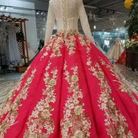 Red Luxury Party Dress With Gold Appliques High Neck Long Sl...