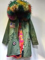 USA flag Beading Meifeng brand multicolour raccoon fur trim hoody winter women coats multicolour Rabbit velvet lining army green long parkas