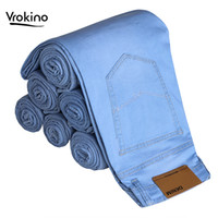 VROKINO Men's Light Blue Jeans 2019 New Listing Business Casual Men's Solid Color Stretch Slim Jeans Brand Clothing 36 38 40