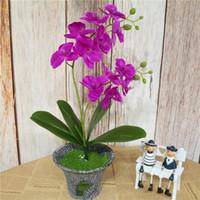2 Direction / pcs artificielle Phalaenopsis Flower Real Touch Latex papillon orchidée Flores avec des feuilles Bureau de mariage Décoration