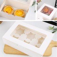 Gift Wrap 15 stks 2/4/6 Holten Marmeren Cupcake Dozen en Verpakking Cake Cookie met venster Muffin Dragees Houder Dessert Containers
