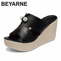 Sandalen Beyarne 2021 Sommer Echtes Leder Plattform Keile Frauen Mode High Heels Weibliche Schuhe Größe 35-43E277