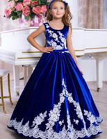 2020 Classic Mother Daughter Dresses Lace Appliques Royal Bl...