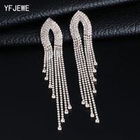 YFJEWE мода женщины длинные обтекаемой кисточкой Кристалл серьги женщина девушка ювелирные изделия Pendante Femme E621