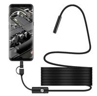 7 mm endoscopio flexible de la cámara IP67 a prueba de agua Inspección boroscopio Cámara 2M 1M para 6LEDs Notebook PC Android ajustables