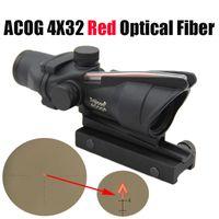 Прицел для охотничьего ружья ACOG 4X32 Оптоволокно Red Dot с подсветкой Шевронное стекло с травленой сеткой Тактический оптический прицел из красного волокна