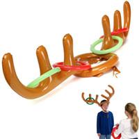 Bague de chapeau de chapeau de renne de Noël PVC gonflable Bague amusante Jeu Fun Fun Fun Noël Xmas Party Décoration Jouets pour enfants