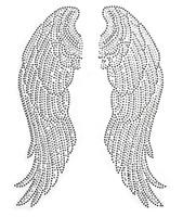 Grandi ali di angelo Pairs Ferro su Hot Fix Rhinestone Trasferimento Bling Motif Diamond Applique per abiti artigianali Borse Decoeated 1 paio
