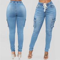 5XL Kadın Kalem Kot Yaz Yüksek Bel Açık Mavi Sıska Kot Bayanlar Elastik Bel Uzun Pantolon