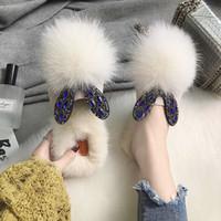 2018 новый осень меховые тапочки носить модные туфли шикарный кролик шерсть хлопок тапочки зима