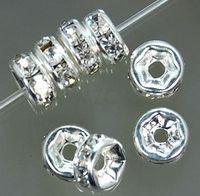 الأفضل! شحن مجاني 500 قطعة / الوحدة الأبيض 8 ملليمتر كريستال فاصل rondelle فاصل الفضة مطلي الخرزة لسوار hotsale diy النتائج مجوهرات
