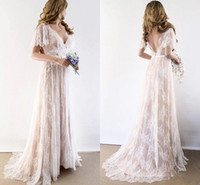 2021 Champagner Land Böhmische Brautkleider V-ausschnitt Kurze Ärmeln Spitze Backless billig Hochzeit Brautkleider Plus Größe Neu