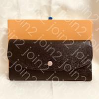 Emilie Portafoglio Fashion Womens Button Lungo Portafoglio Blocco portafoglio Borsa rotonda Coin Borsellino Zippy Brown Canvas impermeabile, scatola di alta qualità Borsa antipolvere M60697