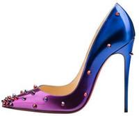 مصمم المرأة الكلاسيكية الأحمر القيعان الكعوب العالية براءات الاختراع والجلود تو مدبب اللباس أحذية فاخرة الضحلة الفم الأحمر الوحيد أحذية الزفاف الساخن بيع جديدة،