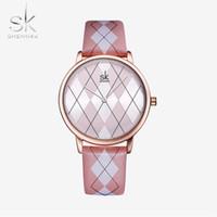 CWP 2021 Shengke Kadınlar İzle Ekose Deri Kız Kol Saati Lady Marka Saatı Saat Montres Femme Reloj Mujer