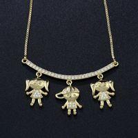 Newranos Jungen Und Mädchen Anhänger Halskette Familie Halskette Zirkonia Halskette Mutter Geschenk Frauen Schmuck Nwx001482 J190713