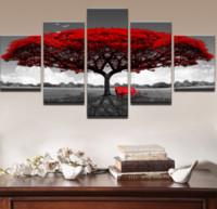 HD Canvas Prints Poster per la casa di arte della parete Foto 5 Pezzi Red Tree Art Dipinti paesaggio di paesaggio