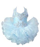 Baby Girls Cupcake Pageant Pageant Pageant Halter Мини-бальное платье для малыша принцесса рюки на русском языке.