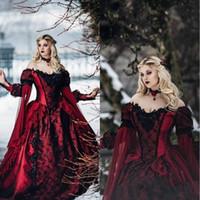 Gothic Sleeping Beauté Princesse Médiévale Bourgogne Black Soirée Robes à manches longues Dentelle Appliques Victorien Mascarade Cosplay Robes de bal Cosplay
