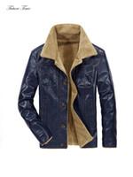 Hombres chaqueta PU chaquetas de cuero y abrigos de invierno Moda Turn-down Collar Marca Ropa Casual Streetwear caliente grueso c1688