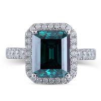 Обручальное кольцо Gemstone Halo Transgems 8x10mm Emerald 14k белое золото с Moissanite Акценты для женщин Элегантный классический оркестр Y19032201