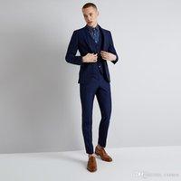 2018 Navy Blue Men Suits for Business 3 Pieces Jacket+Pants+Vest Slim Fit Best Man Blazer Groom Tuxedos Prom Wear Formal Men Suits