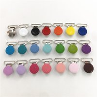 Chenkai 1'' 25mm Round Metal Suspenders Soothers Holder Clips DIY Baby Shower Dummy Pacifier Chain Clips Toy Lead Free 21 Colors
