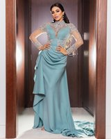 Árabe Aso Ebi Sexy Lace Frisado Vestidos De Noite Lantejoulas Pescoço Pescoço Vestidos Formal Cheap Party Second Recepção Vestidos ZJ115