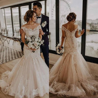 Sexy Off Shoulder Mermaid Wedding Dresses 2020 Lace Up Back ...
