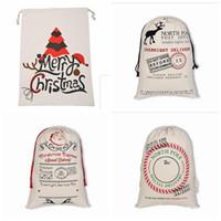 Sacs cadeaux de Noël Père Noël Sac Sac à cordonnet Grand sac fourre-tout organique lourd avec Reindeers Père Noël Sac Sacs pour les enfants 20 couleurs LXL222L