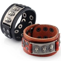 Men Skull Bracelet Punk Rock Style Wide Brown Leather Wrap B...