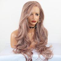 الخيال الجمال موجة طويلة مقاومة للحرارة الاصطناعية الرباط الباروكة الرماد الوردي الرباط الجبهة الباروكات الشعر استبدال الباروكات للنساء