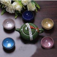 Hohe Qualität 7 teile / los China DEHUA Bunte Keramikbecher Crackle Glasure Teetasse Schöne Tee Set Bevorzugt