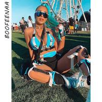 Juego Corto cultivos BOOFEENAA atractivo de dos piezas del verano 2pcs Top motorista pantalones cortos a juego Festival de ropa Trajes femeninos C87-AE28