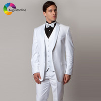 White Wedding Men Suits Slim Fit Terno Tuxedos Groom Wear 3 ...