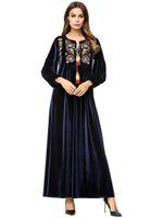 Zarif Nakış Kadife Müslüman Abaya Maxi Elbise Kış Püskül Salıncak Uzun Elbiseler Kimono Gevşek Ramazan Arap İslami Giyim