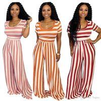 Listrado Verão Mulheres Macacões Fashion Designer Sexy Ladies macacãozinho feriados Casual Calças mangas curtas 2pcs