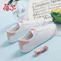 Beier Segeltuchschuhe Frauen-Herbst-neue Version der koreanischen Version von Studenten kleiner weißen Schuhe Lederkrawatte Freizeitschuh Großhandel