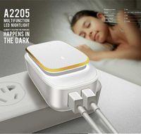 소매와 어댑터 보편적 인 EU 미국 영국 플러그를 충전 LDNIO A2205의 USB 충전기 + LED 나이트 라이트 12W 듀얼 USB 여행 충전기