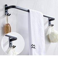 منشفة أسود حامل الحمام الجدار شنقا الألومنيوم الحمام واحدة / مزدوجة رود منشفة رود لكمة بار مجانية
